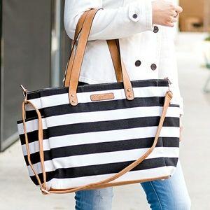472a817a3b88 ... Black   White Stripe Tote Bag White Elm (old ...